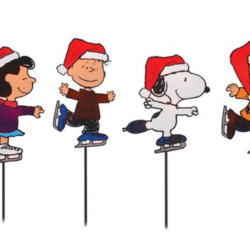Set of 4 Pre-Lit Snoopy and Peanuts Ice Skating Christmas Pathway Markers - Clear Lights