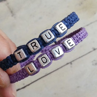 True love Bracelets for Couples ,Set of 2 , Personalized Jewelry , Anniversary Gifts, Bridesmaid Bracelet
