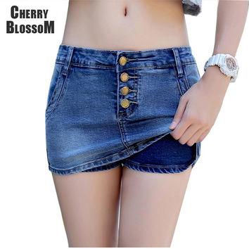 4 Buttons Denim Skort Women Summer Style Shorts Skirt  Hot Jeans Shorts For Women Sexy Slim Hip Shorts Fashion Short Femme 2016