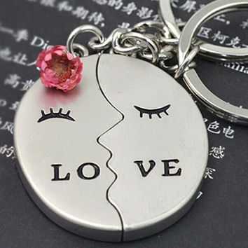2 pcs Creative gifts key chains couple keychains lovers kiss key rings #mgsu.inc.# = 1929654212