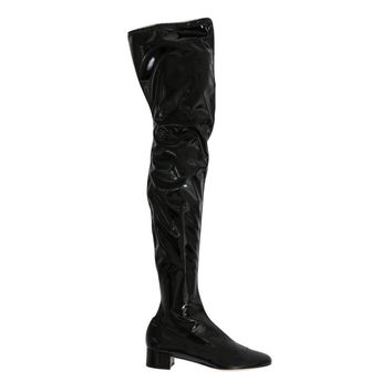 Dolce & Gabbana Black Leather Over Knee Boots
