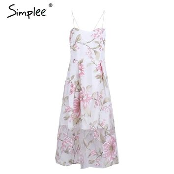 Back lace up floral print long dress Women sexy lining organza dress Beach maxi dress