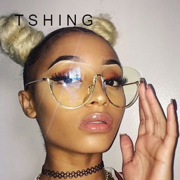 TSHING Men Women Big Glasses Frame Fashion Oversized Rimless Optical Eyeglasses For Ladies Female Clear Lens Eye Glasses