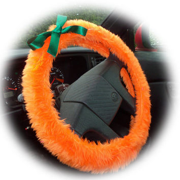steering wheel cover halloween pumpkin themed Orange faux furry fur fuzzy fluffy car with Green satin bow