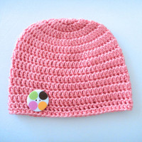 Crochet Baby Hat, Knit Baby Beanie, Pink Baby Hat