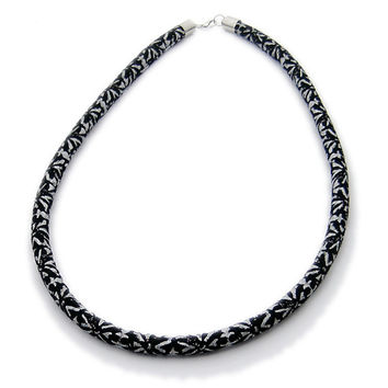 Metallic Silver & Black Necklace // Fabric Neck Rope // Fiber Necklace // Statement Jewelry // Rope Necklace // Fabric Necklace