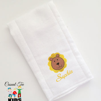 Baby Burp Cloth Embroidered with Lion and Baby's Name Personalized Spit Up Cloth Custom Burp Cloth