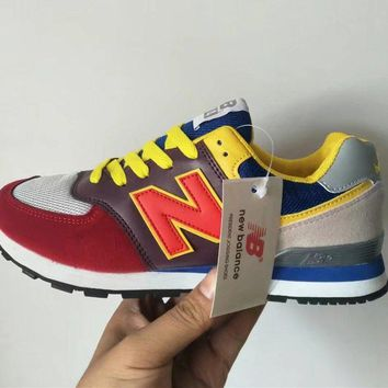"""New Balance 574"" Unisex Sport Casual N Words Retro Multicolor Sneakers Couple Running"