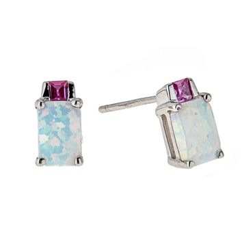 .50 cttw 6x4MM White Opal 2MM Pink Sapphire Sterling Silver Stud Earrings