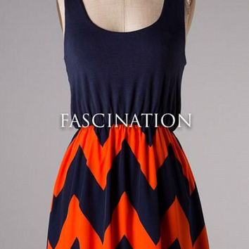 Show Time Chevron Short Dress - Navy and Orange