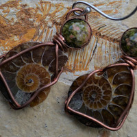 Ammonite Earrings Copper Wire Wrapped Fossil Earrings with Unakite Jasper Sterling Silver Ear Wires