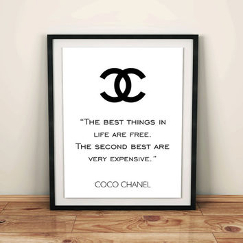 Coco Chanel Logo Chanel home room decor Chanel decor fashion quote coco chanel quote room Chanel art print Girl Room wall Girls Decor quotes