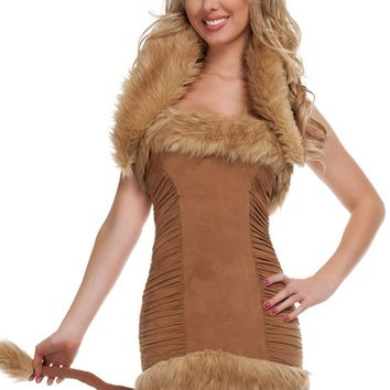 Atomic Brown Furry Lioness Costume