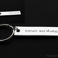 Double Sided Keychain, Forever and Always Pinky Promise, Hand Stamped Aluminum Keychain for Couples, Anniversary Gift, Boyfriend Girlfriend