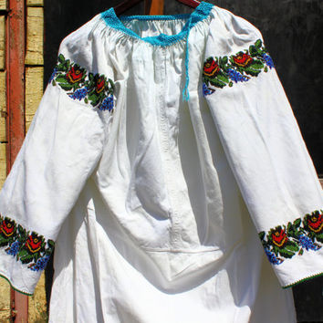 Floral Ethnic Folk Peasant Beaded Embroidered Blouse Traditional Ukrainian Blouse Hippie Handmade Blouse  Beaded