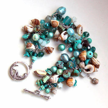 nautical poem / teal turquoise and seashell beaded bracelet / handmade beachy shell jewelry by uniquenecks