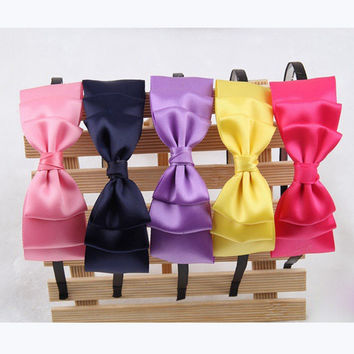 Cute and Girly Hair Bow Headband Fancy Triple Layer For Women Teens Girls