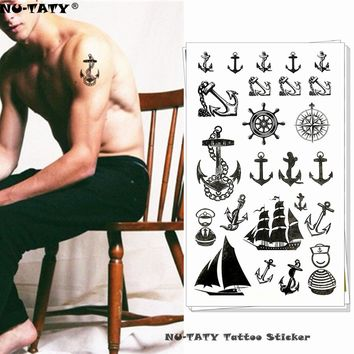 Nu-TATY Marine Pirate Anchor Temporary Tattoo Body Art Arm Flash Tattoo Stickers 17*10cm Waterproof Fake Henna Painless Tattoo