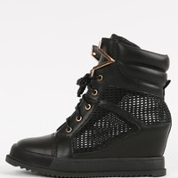 Lace Up Mesh Wedge Sneakers | MakeMeChic.com