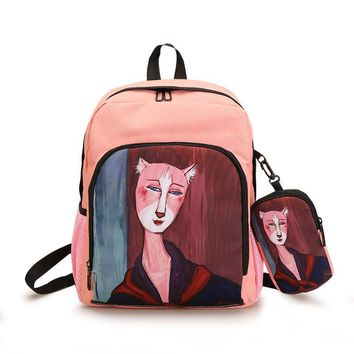 QOKR cool kawaii shoulder women bag harajuku backbag girls backpack female back pack anime school bags 2bags/set backpack+purse