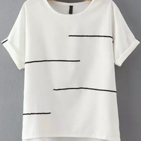 White Short Sleeve Striped Dip Hem T-Shirt -SheIn(Sheinside)