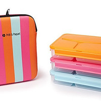 Set of 3 Lunch Boxes (Pink - Blue - Orange)-Leak-Proof & Thermo-Sleeve! Easy to Clean & Dry! Perfect Size for your meals! For Adults and Kids! Recommended for healthier meals!