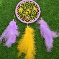 Wall hanging Yellow and Violet Purple Lilac Dreamcatcher with Jade gemstone and plastic beads, wall decor