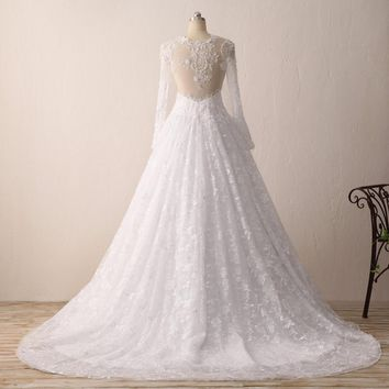 Charming Lace Sheer Long Sleeve Ball Gown Wedding Dresses Long Bridal