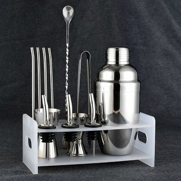 Bar Set: Premium Shaker Barware Set - 12 Pieces Bartender Kit Includes shaker (550ml), rack, spoon, pourer, straw & ice tong