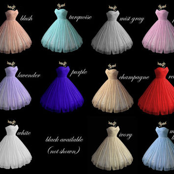 Elegant Strapless Chiffon Confection! Fully Corseted Flattering Delicate Pleated bodice with Sweetheart Neckline in your choice of Color