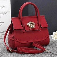 Versace Fashionable Women Leather Handbag Tote Shoulder Bag Crossbody Satchel Burgundy