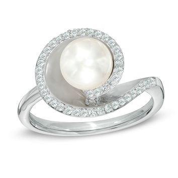 6.0 - 7.0mm Cultured Freshwater Pearl and Lab-Created White Sapphire Ring in Sterling Silver - Size 7