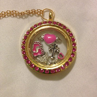Pink Infant Child Pregnancy Loss Awareness Rememberance Floating Charm Memory Locket