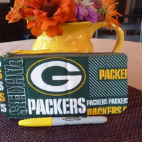 Handcrafted Green Bay Packers Green and Gold Zipper Pencil Case/ Pouch/ Gadget Bag