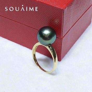 Souaime Rushed Women Classic Engagement Round Bands Anel Feminino Pearl Ring Tahitian Sea South 18K Lady Gift