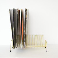Mid-Century Modern Gold Wire Record Rack Set Of Two