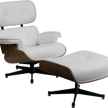 HERCULES Presideo Series Top Grain White Italian Leather Lounge Chair and Ottoman Set with Metal Base ZB-PRESIDEO-CH-001-OTT-WHITE-GG