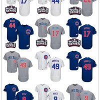2016 World Series champions patch Men Chicago Cubs 54 Chapman 9 Javier Baez 17 Kris Bryant 44 Rizzo 49 Jake Arrieta Men Baseball Jerseys