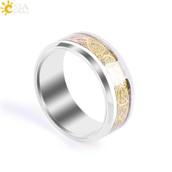 CSJA Gold-Color Dragon Pattern Inlay Celtic Rings Rotatable Never Fade Stainless Steel Jewellery Wedding Band for Lover Men E680