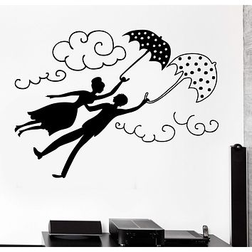 Wall Vinyl Decal Flying Couple Love Romantic Shagall Little Town Umbrella Unique Gift z4092