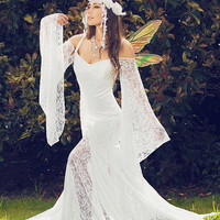 Isabella Backless Beach or Medieval Wedding Gown with Detachable Sleeves
