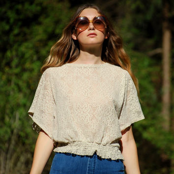 70s Cream Lace Top, Elastic Waist Wide Sleeve Crochet Top, Hippie Peasant Blouse Boxy See Through Oversized Shirt White Boho Sheer Crop Top