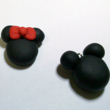 Mickey & Minnie Mouse Necklace polymer clay fimo cute by youfimo