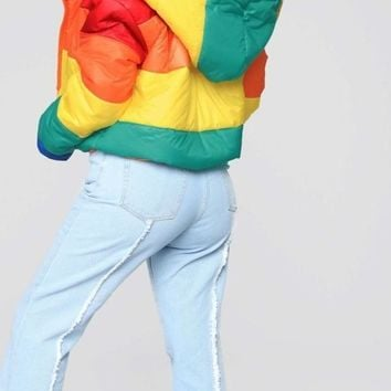 Rainbow Padded  Down Jacket
