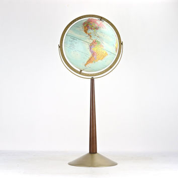 RESERVED FOR JEFFERY, Vintage Globe, Mid Century Globe, Floor Globe, Tall Mid Century Globe, Old Globe, Globe On Stand, 1950's Globe