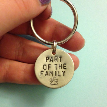 Part of the Family Keychain - Dog Tag, Dog Pet Lover, Paw Print, Little Something Extra Gift