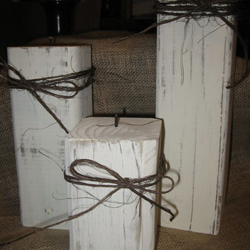 Set of 3 4x4 Distressed Candle Holders With Twine Detail Accent  Wood Block Candle Holder Candle Holder Distressed Wood Candle Holder