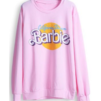 hot sale 2017 spring winter women hoodies fleece high quality Sweatshirt  kawaii cute Pink Barbie Pullover brand clothing