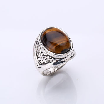 Tiger Eye Stone Men's Rings Flame Pattern With Plated Antique Silver Natural Stone Natural Random Lines Oval Shape Stone