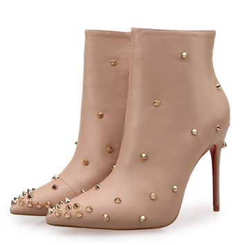 new 2017 women pointed toe rivets abkle boots zip side sexy high heel boots red bottom party shoes plus size 35-41